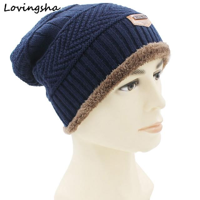 f2353536 LOVINGSHA Winter Hats For Men Women Beanie Faux Fur Warm Baggy Knitted Hat  Beanies Knit Men's Winter Hat Caps Skullies Bonnet
