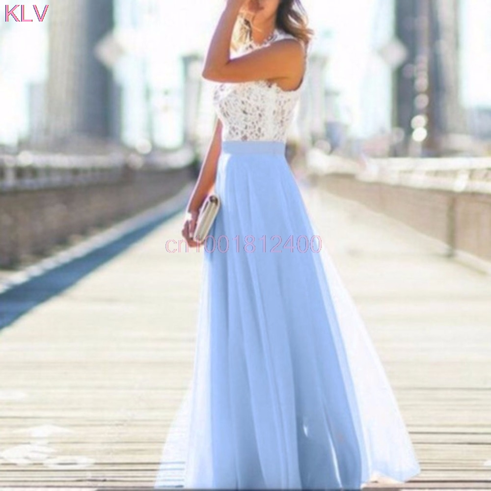 Spring Dress Evening Party Lace Hollow Out Beach Maxi Dress Women Boho Sleeveless W033 H ...