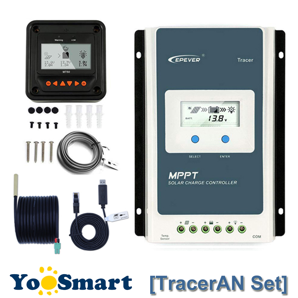 EPever TracerAN 10A 20A 30A MPPT Solar Charge Regulator 12V 24V LCD Controller 100V PV Negative Ground With MT50 TS-R RS485