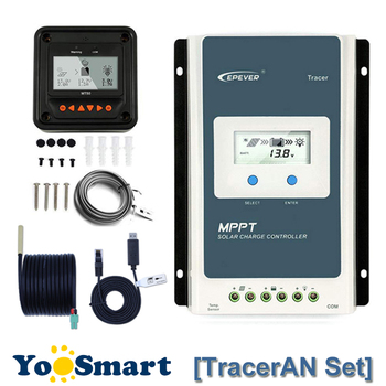 EPever TracerAN 10A 20A 30A MPPT Solar Charge Regulator 12V 24V LCD Controller 100V PV Negative Ground With MT50 TS-R RS485 tracer2215bn 12v 24v mppt solar battery charger controller with mt50 remote meter and temperature sensor for use