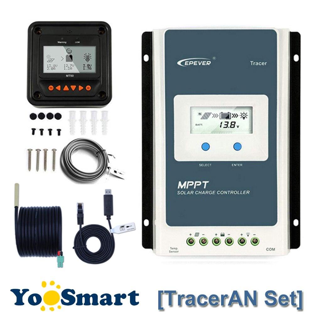 EPever TracerAN 10A 20A 30A MPPT régulateur de Charge solaire 12 V 24 V LCD contrôleur 100 V PV sol négatif avec MT50 TS-R RS485