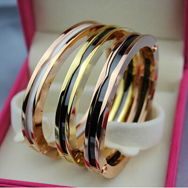 High Quality And Fashionable Titanium Steel Jewelry Roman Digital Black And White Porcelain Bracelet Rose Gold