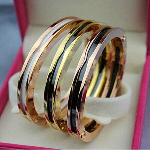 Haute qualité et à la mode bijoux en acier titane romain numérique noir et blanc Bracelet en porcelaine or Rose argent or