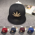 2016Fashion Weed Snapback Caps Hip Hop Baseball Cap Hats Strapback Men Women Bone Gorras Casquette Weed Leaf Sun Net Hat w134