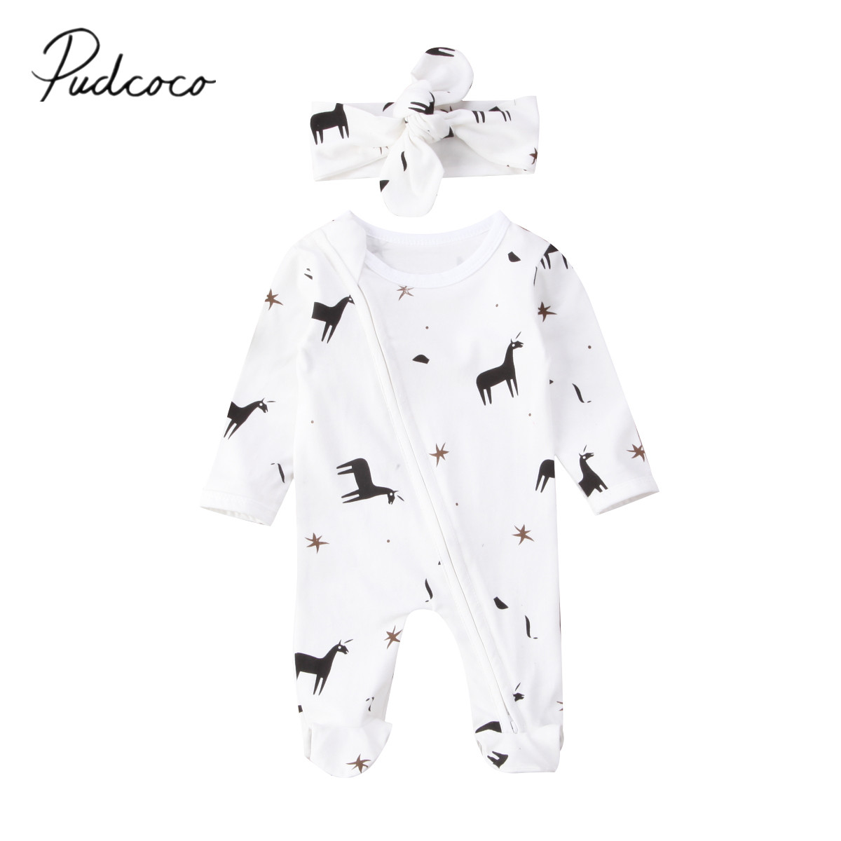 2018 Brand New Newborn Toddler Infant Baby Girl Boys Long Sleeve Bodysuit Jumpsuit Playsuit Headband Outfits Unicorn Clothes Set baby sweater child knit sweaters toddler winter warm long sleeve bodysuit cardigan girl jumpsuit kardigan bebe traje de cuerpo