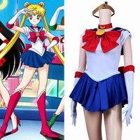 Japoński Anime Sailor Moon Usagi Tsukino Kostium Niebieski Fancy Dress Kostiumy Role Play z naszyjnik i rękawice z pałąkiem na głowę ect
