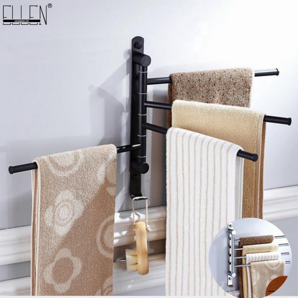 Handtuchhalter Swivel Handtuch Bar Beweglichen Doppel Handtuch Schienen Chrom Poliert Matt Gummi Schwarz Bad Zubehör