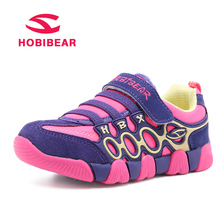 HOBIBEAR Genuine Leather Children Running Shoes For Boys Sneaker Girls Sport Shoes Fabric Breathable Student School Kids Sneaker