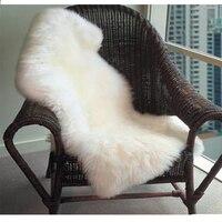 Soft Hairy Carpet Sheepskin Chair Cover Seat Pad Plain Skin Fur Plain Fluffy Area Rugs Washable