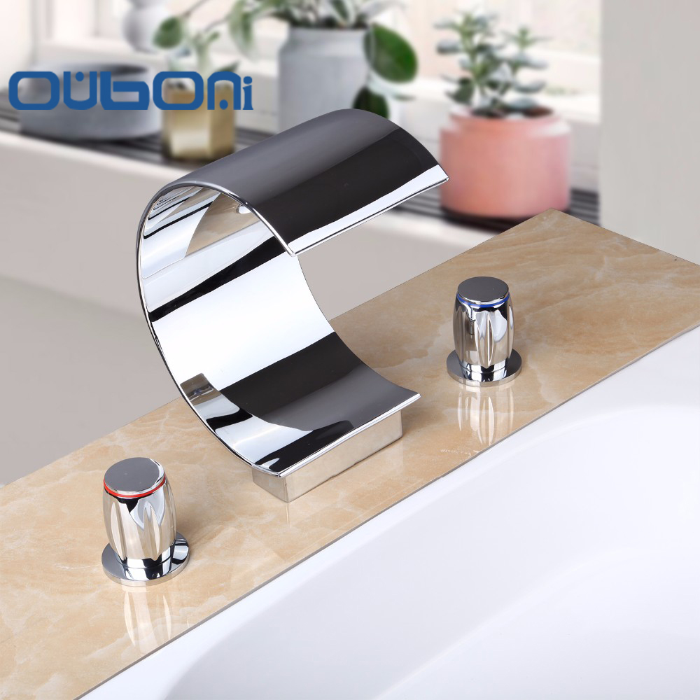 OUBONI Concise Style Brass Basin Faucet Double Handle Three Hole Three  Piece Faucet Mixer Tap BathroomOnline Get Cheap Single Piece Bathroom Faucet  Aliexpress com  . Three Piece Bathroom Faucet. Home Design Ideas