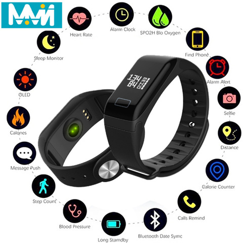 F1 Smart Bracelet Wristband 0.66 inch Screen smart Watch Blood Pressure Monitor Bracelet Fitness Band Heart Rate Monitor Pakistan