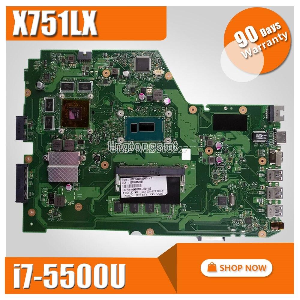 цены на X751LX motherboard For Asus i7-5500U 4GB RAM GT950M-2GB X751L R752L R752LD X751LX laptop Mainboard