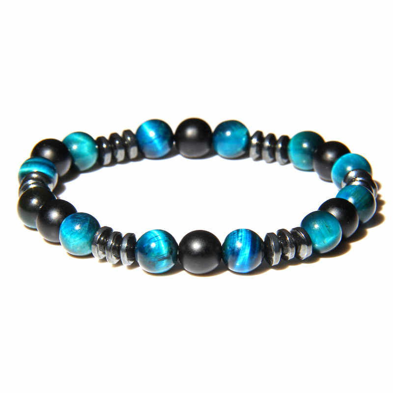 vinswet Blue Tiger Eye Beads Bracelet Men Natural Black Obsidian Hematite Stone Bangle Bracelets Rope Elastic strand bracelets