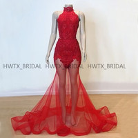 Red Long Prom Dresses 2019 See Through Skirt Halter Sexy Mermaid Lace Tulle African Black Girls Prom Dress Vestidos de gala