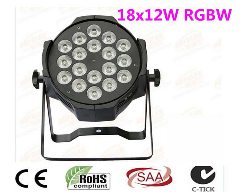 все цены на 6 unids LED par 18x12 W RGBW 4in1 Quad LED Par Can dj Par64 spotlight proyector iluminacion de la etapa de lavado luz de luz онлайн