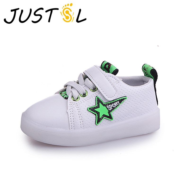 JUSTSL 2018 new spring children lights shoes girls boys luminous white  fashion sneakers LED flash shoes for kids-in Sneakers from Mother   Kids on  ... 32ecfc21f8d7