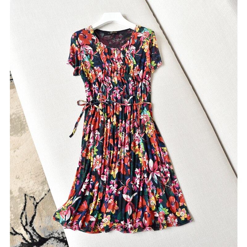 A Kleid Gaze V Seidenkleid b Kragen Seide Doppelte 100 Sommer PHx6Oafq