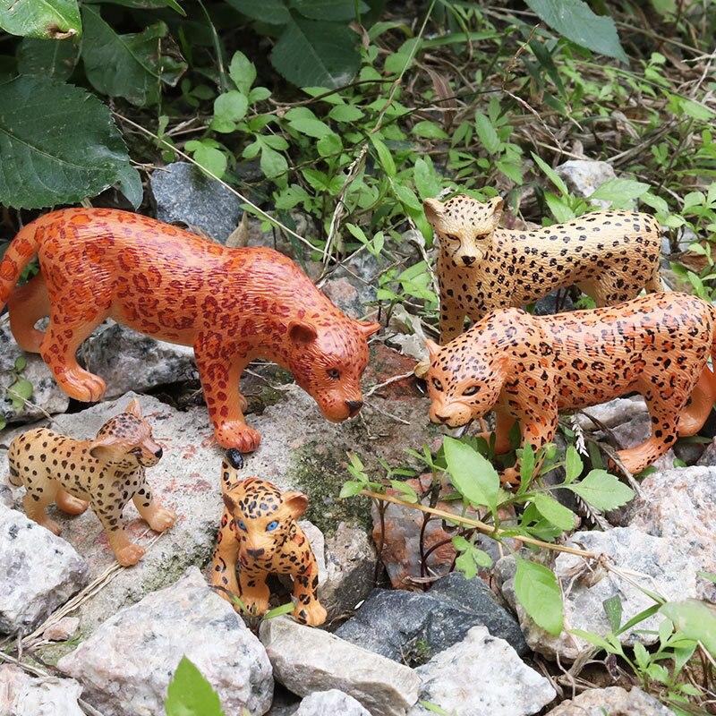 1 Stücke 5 Arten Afrikanische Leopard Tier Kunststoff Modell Vivid Geburtstag Geschenk Kinder Lieblings Frühen Bildung Spielzeug
