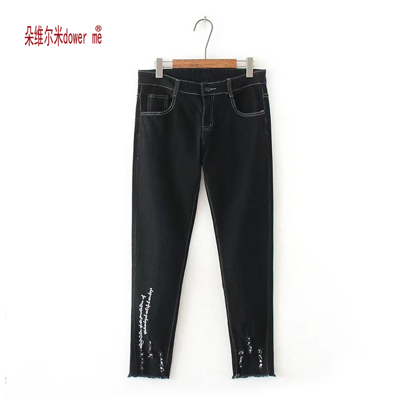 dower me Ripped Jeans Woman Mid Waist Elastic Cotton Pants Woman Casual Printed Lighting Full Length Jeans Skinny Female Pants