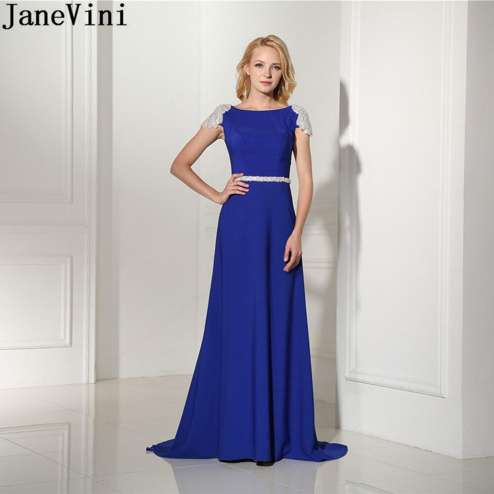 JaneVini Chic A Line Satin Royal Blue Prom Dress Scoop Neck Luxury Beading Backless Sexy Long Evening Dresses Vestidos De Gala