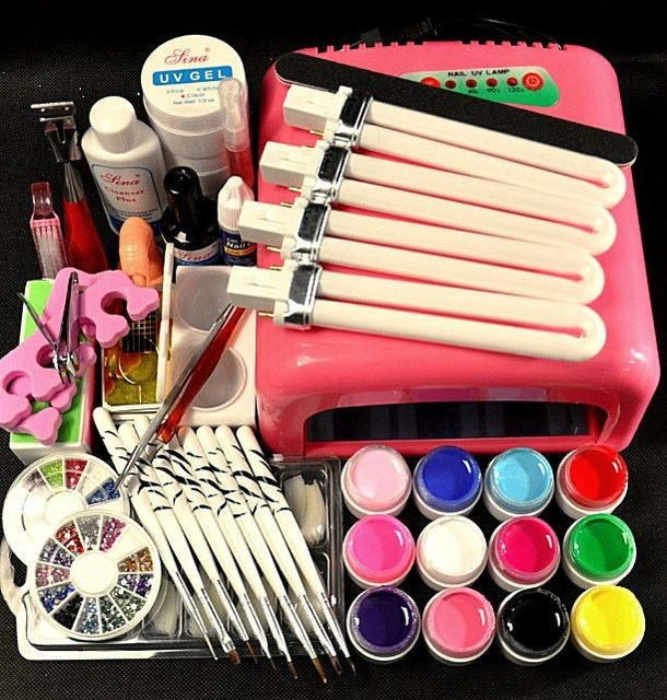 Nail Art Manicure Tools 36W UV Lamp + 12 Color 8ml UV Gel Nail Base Gel Top Coat with Remover Practice Finger Tips kit