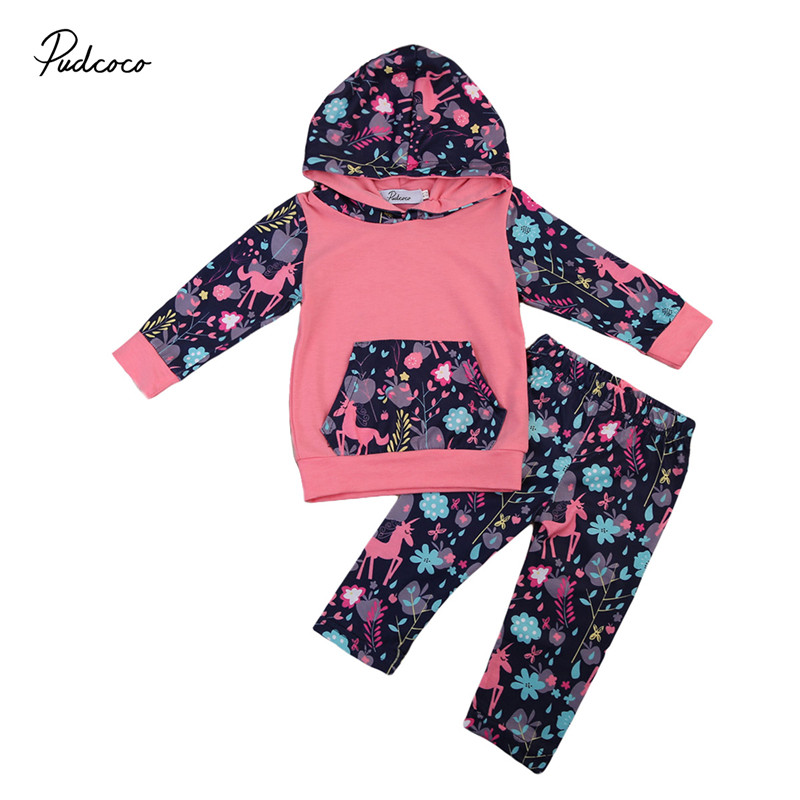 Pudcoco 2pcs Toddler Baby Girls Clothes New Style Hoodies Long Sleeve Tops+Floral Leggings Pants Outfits Baby Clothing Set