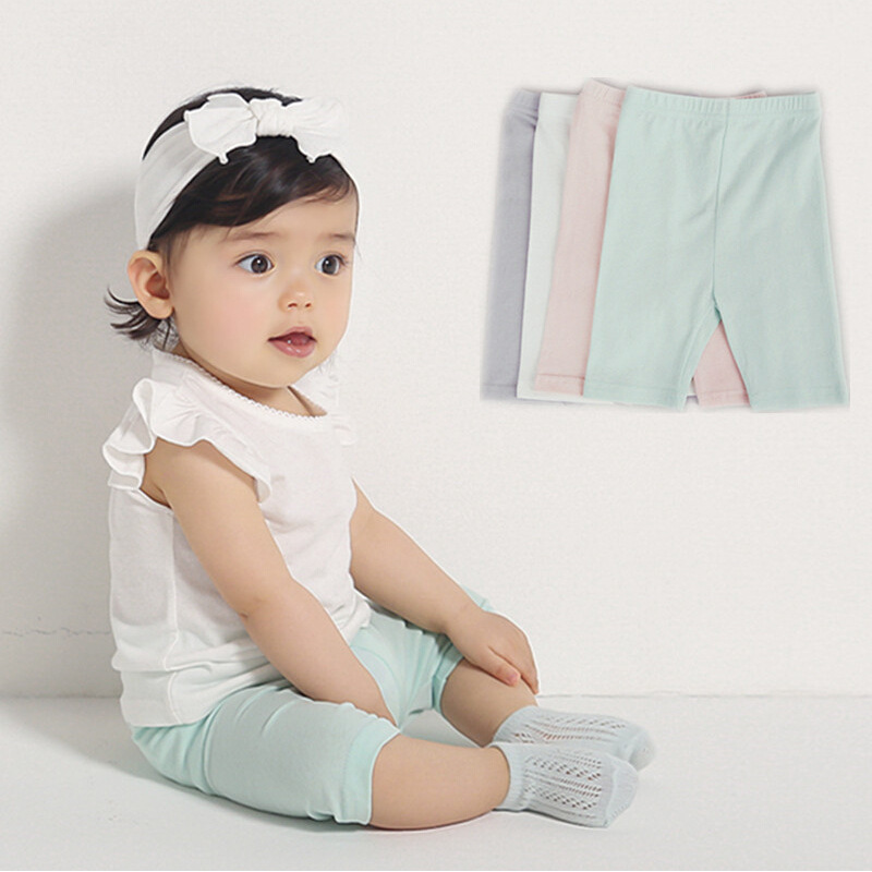 New Summer Baby boys girls Shorts Solid Color Elastic Waist Regular Style Combed Cotton  ...