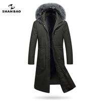 2017 zima pogrubienie ciepłe mężczyźni długa kurtka puchowa luksusowe wysokiej jakości fox fur collar white duck dół parka kaptur czarny Ciemny zielony