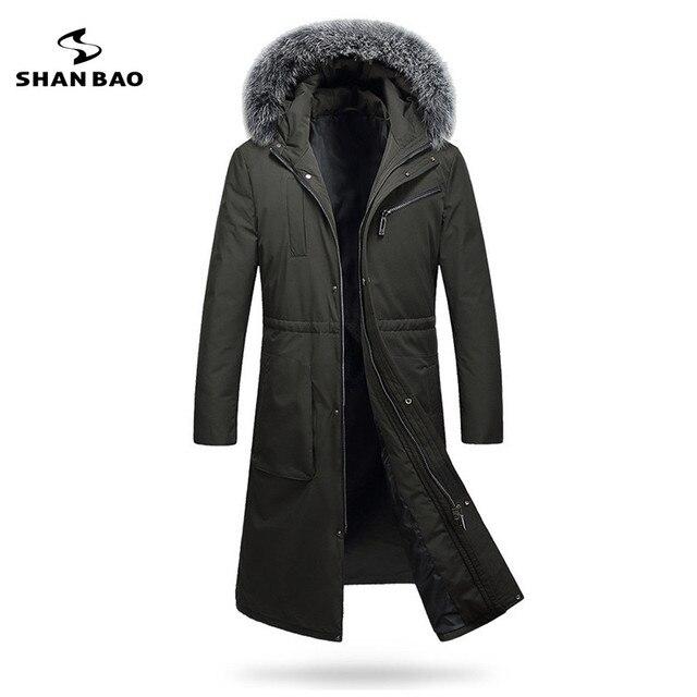 2019 winter thickening warm men long down jacket luxury high quality fox fur collar white duck down hood parka black Dark green