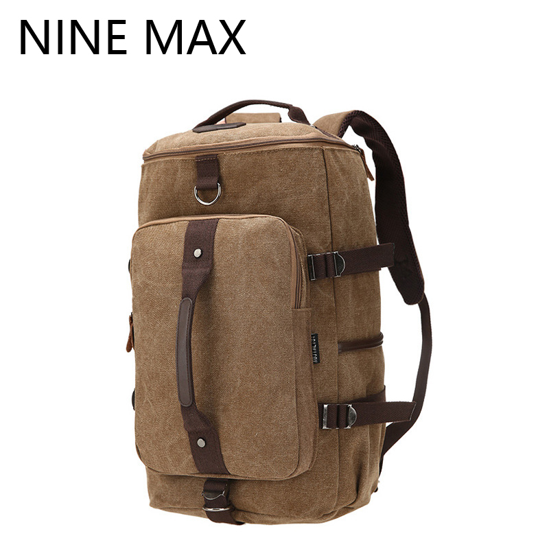 ФОТО High Quality Vintage Casual Solid Barrel Backpack Large-Capacity Durable Multiple Fuction Canvas Rucksack for Masculina Travel