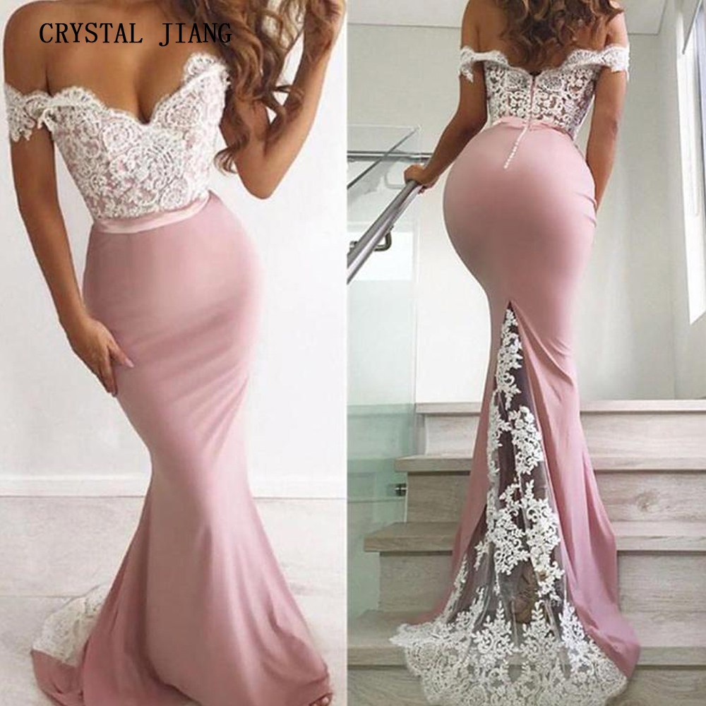 2019 Pink   Bridesmaid     Dresses   Off the Shoulder Lace Applique Custom made Mermaid Spandex Trumpet   Bridesmaid   Party Gown