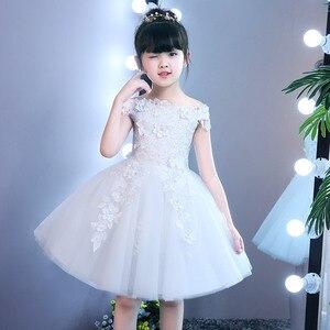 Детское платье для дня рождения Бальные платья принцессы для маленьких девочек 2 лет, с одним плечом, на свадьбу, с цветочным узором, для дево...