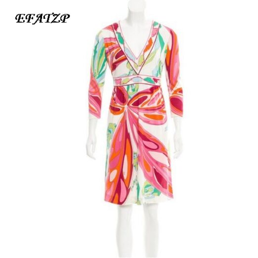 New 2017 Fashion Designer Brand Dress Women s V neck 3 4 Sleeves Geometry Printed XXL