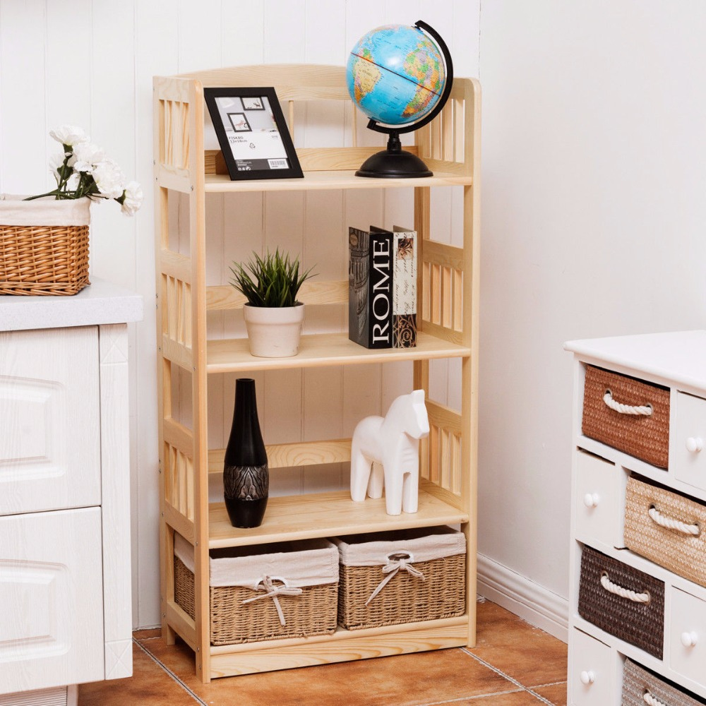 Giantex Modern Bookcase Multipurpose Storage Rack Living Room Display Collection Garage Shelf With Woven Storage Baskets HW55994 leewince hotel trolley coffee tables storage holders multipurpose shelf display rack corner products furniture console tables