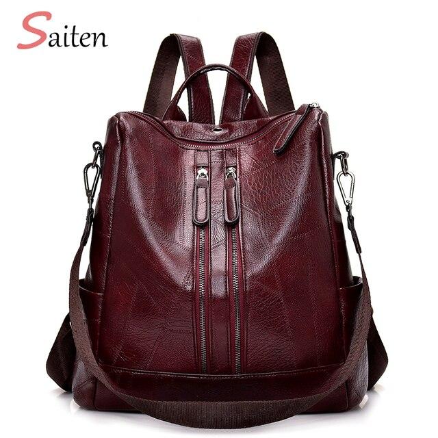 2019 Fashion Women Backpack High Quality Youth Leather Backpacks for Teenage Girls Female School Shoulder Bag Bagpack mochila 1