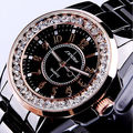 Sinobi Gorgeous Lady Wristwatch Black Disc Steel Rose Golden Fashion Dress Bling Rhinestone Casual Quartz Watch