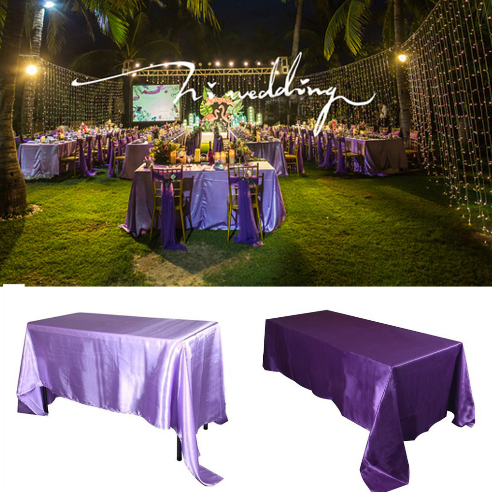Ivory 5pcs Pack 90 x 132 inch Rectangular Satin Tablecloth Table Cover for Wedding Party Restaurant