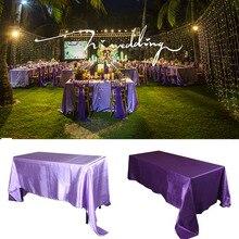 Elfenbein 5 teile/paket 90×132 zoll Rechteckigen Satin Tischdecke Tischabdeckung für Hochzeitsfeier Restaurant Bankett Dekorationen