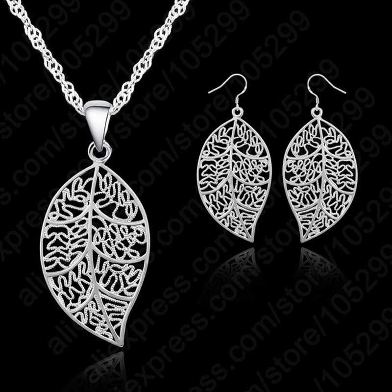 "Promotion 925 Sterling Silver Jewelry Sets For Women leaves Earring Hook And Leaf Pendant Necklace 18"" Singapore Chain"