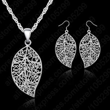 "Promotion 925 Sterling Silver Jewelry Sets For Women leaves Earring Hook And Leaf Pendant Necklace 18"" Singapore Chain(China)"