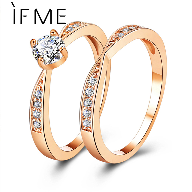 IF ME Rose Gold Wedding Rings Jewelry Cubic Zirconia Ring for Women Rings Set Fe