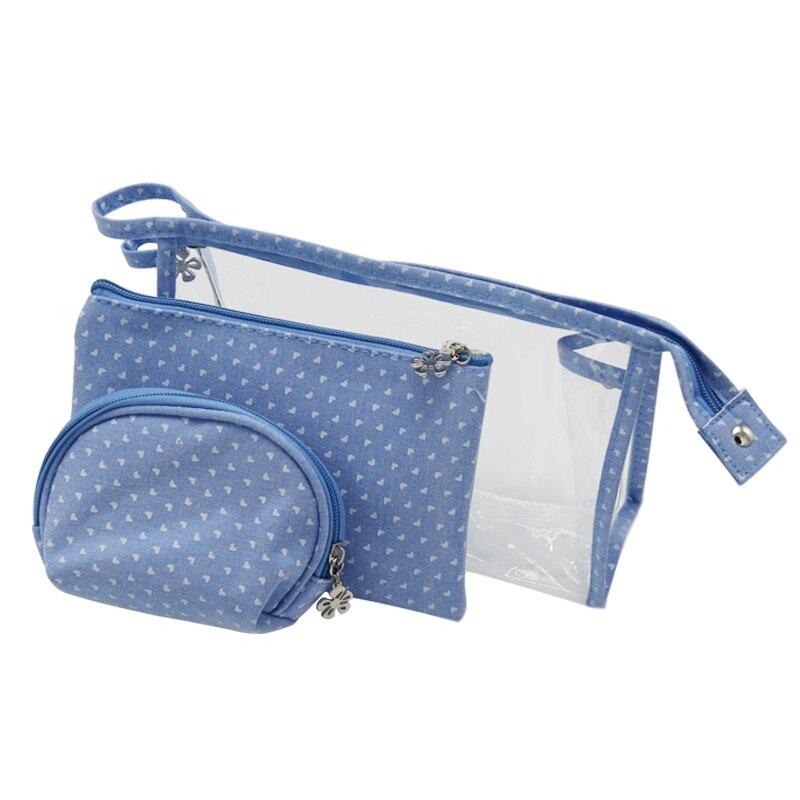 PVC 3pcs/set Fashion Brand Cosmetic Bags Waterproof Neceser Portable Make Up Bag Women PVC Pouch Travel Toiletry Bag