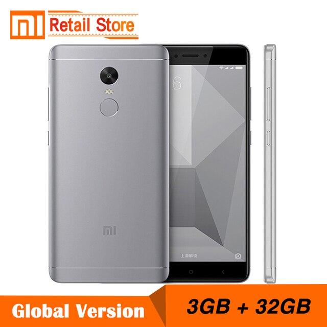 """Глобальный версия xiaomi redmi note 4 snapdragon 625 octa core cpu мобильного телефона 3 ГБ ram 32 ГБ rom 5.5 """"FHD 13.0MP 4100 мАч Группа B4"""