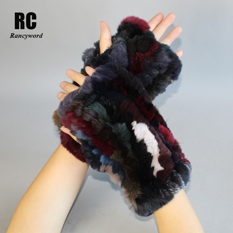 [Rancyword] Women Gloves Winter Knit Real Rex Rabbit Fur Gloves Leather Girl Elastic Soft Warm Fingerless Gloves Women RC1387