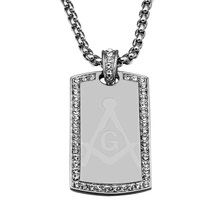 HIP Hop Dog Tag Masonic Iced Out Rhinestone Bling Gold Color Square Necklaces & Pendant For Men Jewelry Bead Chains