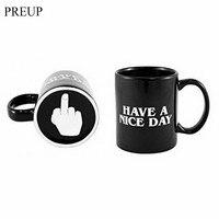 PREUP Creative Have A Nice Day Coffee Mug Middle Finger Funny Mug Cup Ceramic Mug Cups