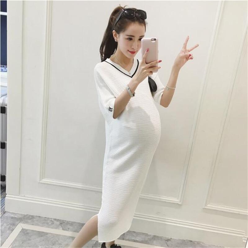 2018 Summer V neck Side Splits White Maternity Dress Elegant Maternity Clothes for Pregnant Women Black Pregnancy Clothing