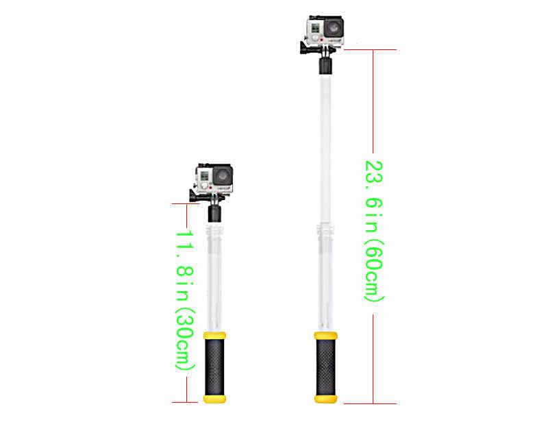 Transparent Floating Extendable Monopod Selfie Stick For GoPro Hero 7 6 5 4 3+ 3 Xiaoyi Xiaomi Yi SJCAM Camera Accessories F3515