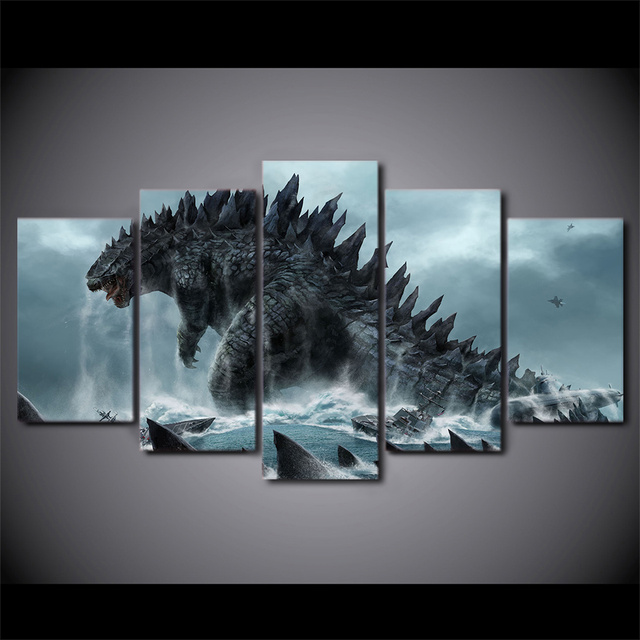5 Pieces Canvas Prints Godzilla movie Painting Wall Art Home Decor Panels Poster For Living Room & 5 Pieces Canvas Prints Godzilla movie Painting Wall Art Home Decor ...
