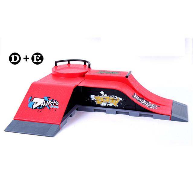 Envío Libre Modelo D + E Mini Dedo Skate Rampa Parque/Skatepark Tech Deck Skate Park Incluye Doble Unilateral de la Forma de Pendiente